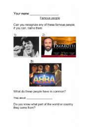 English Worksheets: Famous singers