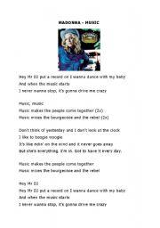 English Worksheet: Worksheet Madonna�s song