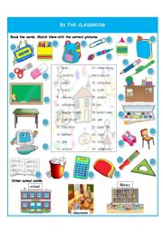 English Worksheets: In the classroom