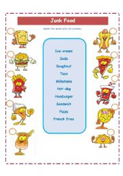 English Worksheet: JUNK FOOD AND  FREQUENCY WORDS!