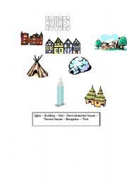 English worksheet: HOUSES
