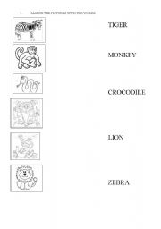 English Worksheets: Match the animals with the picture