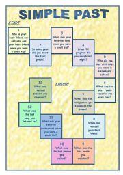 English Worksheet: Simple Past Game
