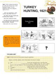 English Worksheet: Thanksgiving: Turkey Hunting, 1621