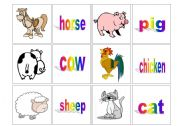 English Worksheets: Concentration cards - animals (1)