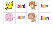 English Worksheets: Concentrations cards - animals (2)
