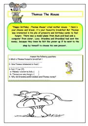 English Worksheets: Thomas The Mouse