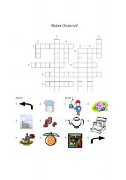English worksheet: Miscellaneous Picture Crossword