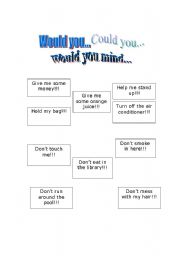 English Worksheets: Would you, Could you, Would you mind...