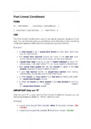 English Worksheet: Past Unreal Conditional