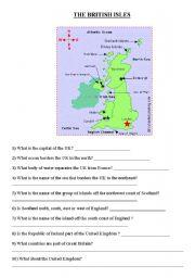 English Worksheet: british isles Northern Ireland United Kingdom part 1