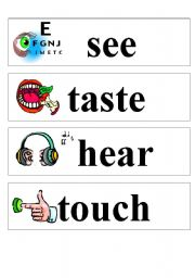 English Worksheets: The five senses poster part 2