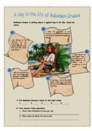 English Worksheet: A day in the life of Robinson Crusoe
