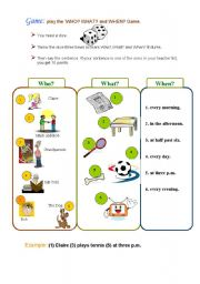 English Worksheet: game: about Daily Routines