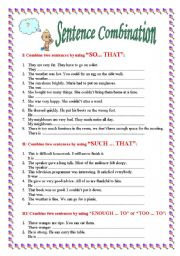 English Worksheets: Sentence Combination