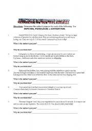 English Worksheets: Author´s Purpose