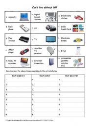 English worksheet: Can´t live without it
