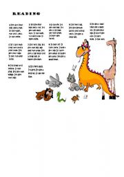 English Worksheets: A reading about animals