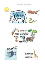 English Worksheet: animal rhymes