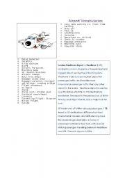 English Worksheet: airport vocabulary list