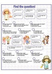 English Worksheets: FIND THE QUESTION!