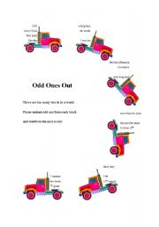 English worksheet: Odd ones out