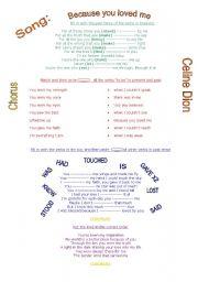 English Worksheets: Because you loved me (Celine Dion)