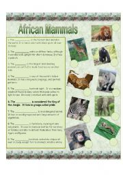 English Worksheet: African Mammals