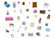 English Worksheet: Part 2 of 2 Furniture and Household Objects to go with the Where does it belong House Layout