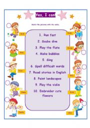 English Worksheet: Yes, I can Modal verb CAN