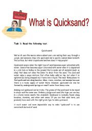 English Worksheet: What is Quicksand ? ( reading comprehension activity)