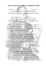 English Worksheet: Louis Armstrong-What a wonderful world GAPFILL
