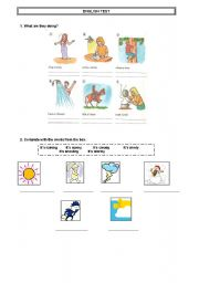 English worksheets: english test present continuous and weather