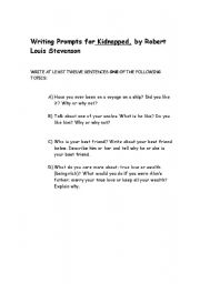 English worksheet: Writing Prompts for Kidnapped