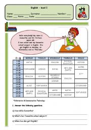 English Worksheet: TIMETABLE AND SCHOOL SUBJECTS - PAGE 1