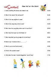 English Worksheets: Simpsons - New kid on the block