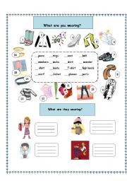 English Worksheet: What are you wearing?