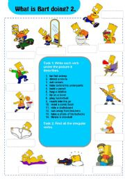 English Worksheets: Actions: What is Bart doing? 2/3