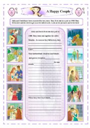 English Worksheets: Writing  :  A happy couple
