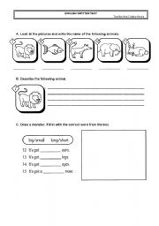 English Worksheets: english test with animals, prepositions and weather