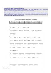 English worksheet: Classic Literature Cryptogram and Crossword