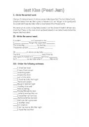 English Worksheets: Last Kiss by Pearl Jam