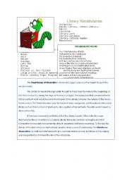 English Worksheet: List of essential library vocabularies