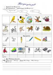 English Worksheet: Have you got?  pair work