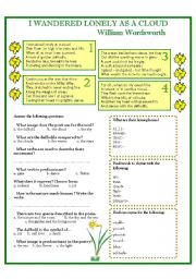 English Worksheets: WILLIAM WORDSWORTH- I wandered lonely as a cloud