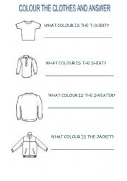 English worksheet: colour the clothes and answer