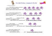 English Worksheet: Five Little Monkeys Jumping on the Bed/ Worksheet