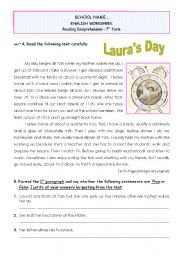 English Worksheets: Laura�s Day - reading comprehension/writing