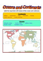 English Worksheet: Oceans and Continents