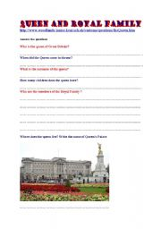 English Worksheet: Queen and Royal Family